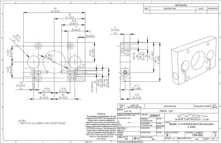 Stepper motor bracket Z axis - PDF file