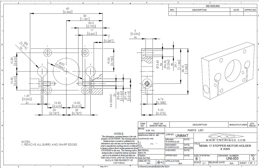 Stepper motor bracket X axis - PDF file